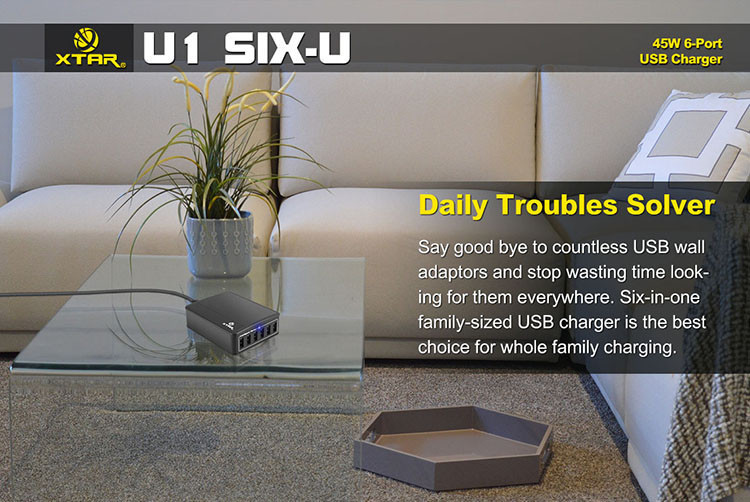 U1 Six U 45W 6 Port USB Charger Hub 03