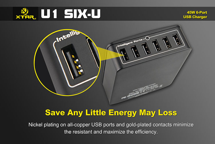 U1 Six U 45W 6 Port USB Charger Hub 10