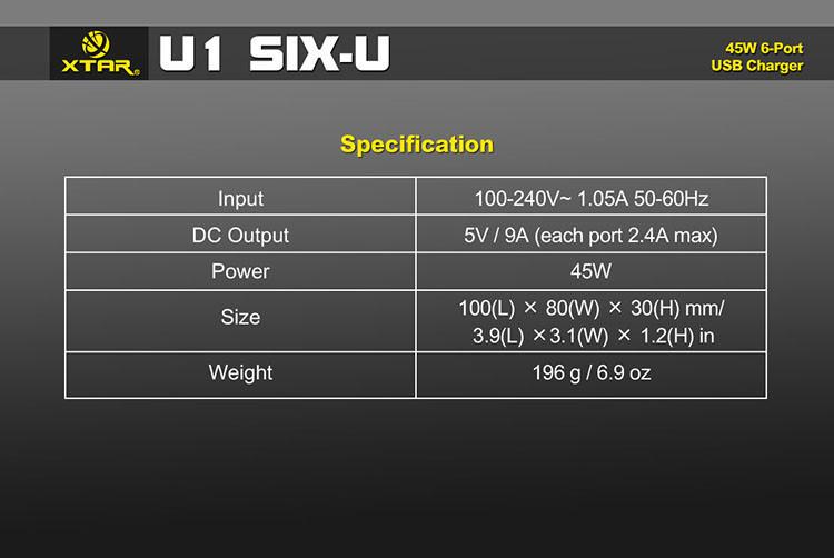 U1 Six U 45W 6 Port USB Charger Hub 12