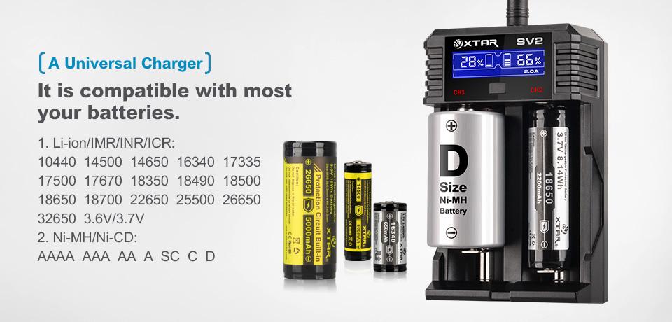 Xtar Sv2 Rocket Li Ion Ni Mh Amp Ni Cd Battery Charger